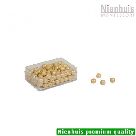 100 Golden Bead Units: Individual Beads Glass (with hole)