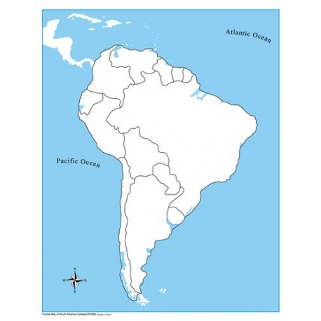 South America Control Map Unlabelled Montessori Supplies - Unlabelled map