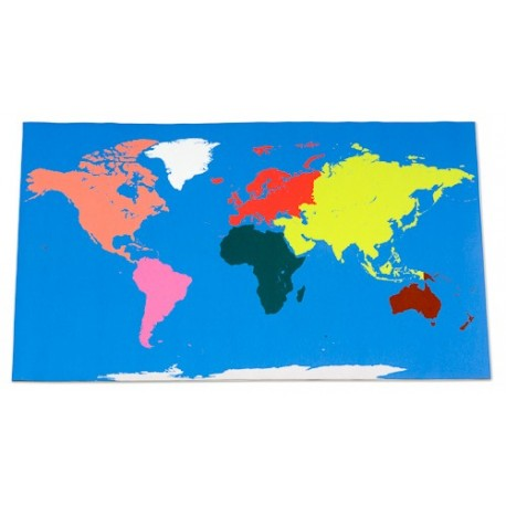 Large floor World map, 180x110cm, Montessori colours