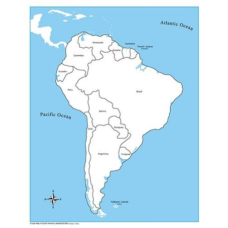 South America Control Map Labelled