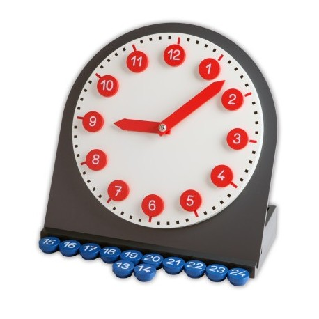 Clock with movable arms and numbers