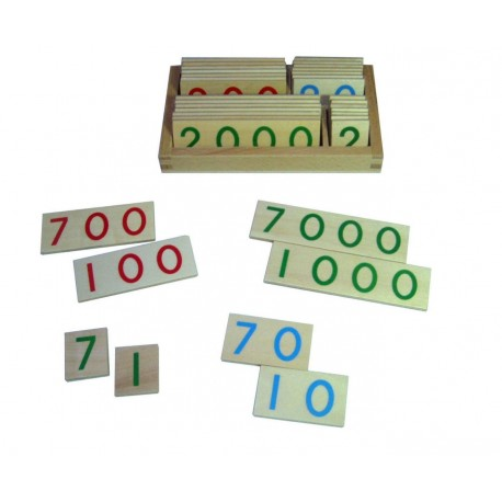 Wooden number cards in box, small