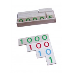 Wooden number cards in box, large