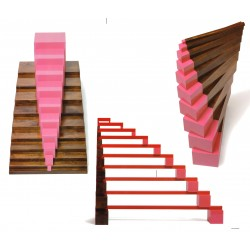 SAVER-SET Pink Tower, Brown Stairs, Long Red Rods & Exercise cards (Home Grade, Save £19)